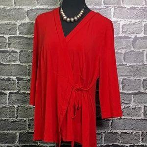 Lane Bryant Plus Sz 18/20 Red Wrap Shirt Jersey